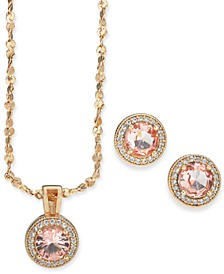 Rose Gold-Tone Crystal Stud Earrings & Pendant Necklace Set, Created for Macy's