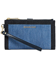 MICHAEL Michael Kors Denim Double Zip Wristlet, Created for Macy's