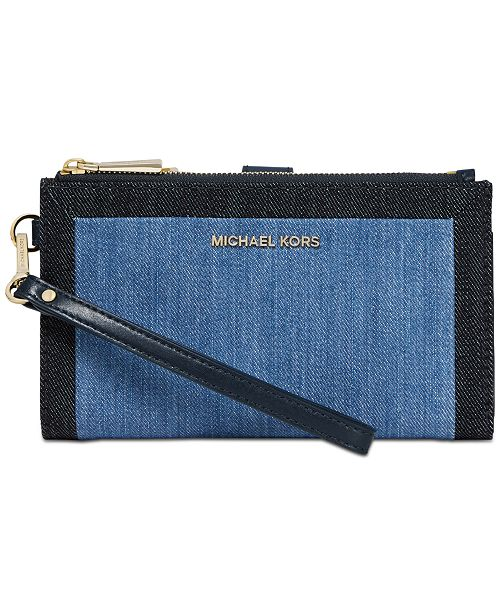 3889af295a42 Michael Kors Denim Double Zip Wristlet, Created for Macy's & Reviews