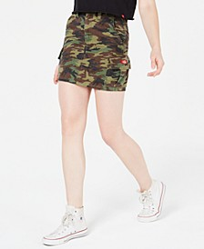 Cotton Camo-Print Cargo Skirt