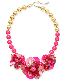"""kate spade new york Sequin & Bead Leather Flower Statement Necklace, 17"""" + 1"""" extender"""