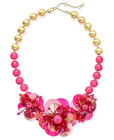 "kate spade new york Sequin & Bead Leather Flower Statement Necklace, 17"" + 1"" extender"