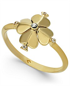 Gold-Tone Crystal Flower Ring