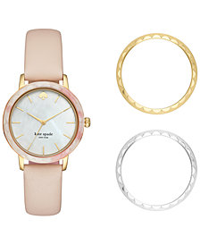 kate spade new york Women's Scallop Beige Leather Strap Watch Box Set 34mm