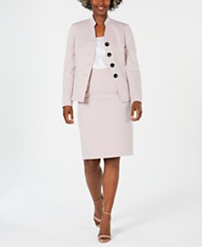 Le Suit Stand-Collar Skirt Suit