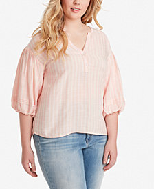Jessica Simpson Juniors' Plus Size Bubble-Sleeve Top