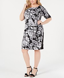 Connected Plus Size Floral-Print Shift Dress