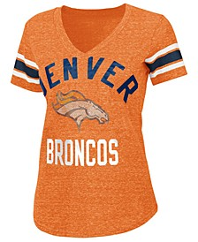 Women's Denver Broncos Sleeve Stripe Bling T-Shirt
