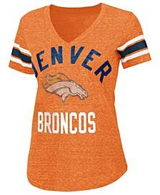 Women's Denver Broncos Sleeve Stripe Bling T-Shirt