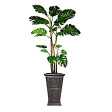 "90.8"" Tall Monstera Artificial  Faux Home Decor with Burlap Kit and Fiberstone Planter"