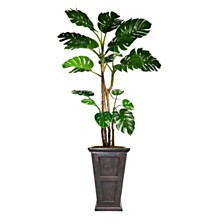 """Laura Ashley 90.8"""" Tall Monstera Artificial  Faux Home Decor with Burlap Kit and Fiberstone Planter"""