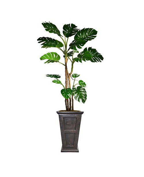 "Laura Ashley 90.8"" Tall Monstera Artificial  Faux Home Decor with Burlap Kit and Fiberstone Planter"