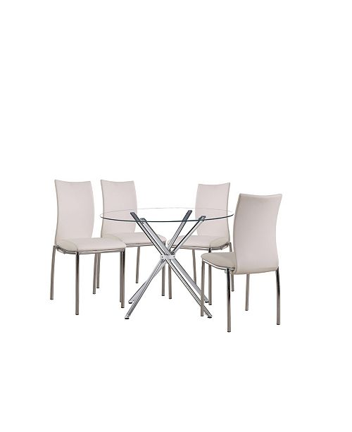 New Spec Inc Carrisa Glass Table with Leatherette Chair Collection Set of 5 Pieces