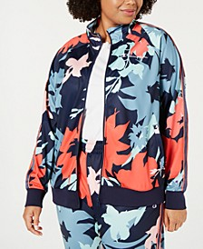 Plus Size Printed Track Jacket