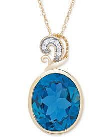 "London Blue Topaz (5-1/2 ct. t.w.) & Diamond Accent 18"" Pendant in 14k Gold"