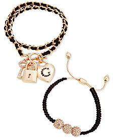 GUESS Gold-Tone 2-Pc. Set Pavé Charm & Faux Leather Bracelets