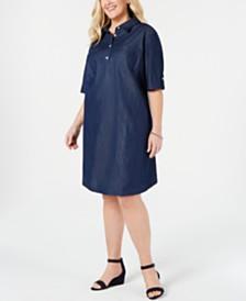 Karen Scott Plus Size Cotton Short-Sleeve Chambray Shirtdress, Created for Macy's