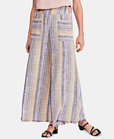 Free People Striped Frayed-Hem Wide-Leg Pants