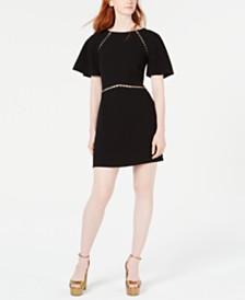 Rachel Zoe Nina Beaded Flutter-Sleeve Dress