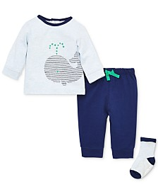 Little Me Baby Boys 3-Pc. Whale Top, Pants & Sock Set
