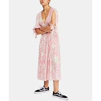 Deals on Free People Forever Always Printed Tie-Cuff Dress