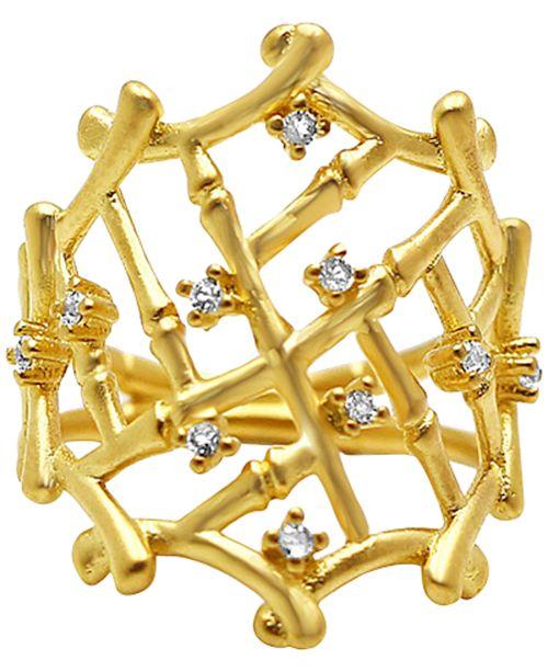Kesi Jewels Diamond Accent Bamboo Screen Statement Ring in 14k Gold