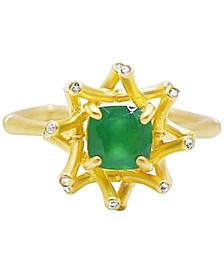 Green Agate (7/8 ct. t.w.) and Diamond Accent Ring in 18k Gold over Sterling Silver