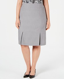Kasper Plus Size Pleated Skirt