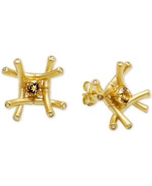 Kesi Jewels Citrine (1/4 ct. t.w.) & Diamond and White Topaz Accent Stud Earrings in 18k Gold over Sterling Silver