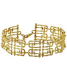 Diamond & White Topaz Accent Ladder Bracelet in 18k Gold-Plated Sterling Silver