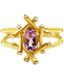 Kesi Jewels Pink Amethyst (3/4 ct. t.w.) & Diamond and White Topaz Accent Ring in 18k Gold-Plated Sterling Silver