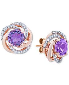Amethyst (1-1/2 ct. t.w.) & Diamond (1/10 ct. t.w.) Stud Earrings in 14k Rose Gold