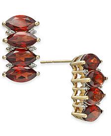 Garnet (6-3/8 ct. t.w.) & Diamond Accent Row Earrings in 14k Gold