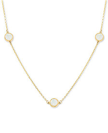 "Mother-of-Pearl Disc 17"" Collar Necklace in 14k Gold"
