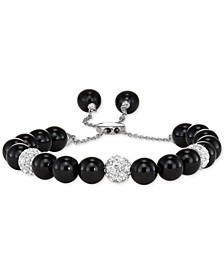 Onyx (8mm) and Crystal Adjustable Bolo Bracelet