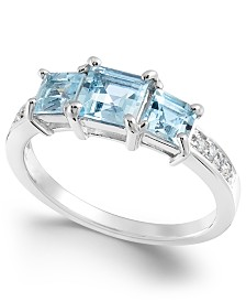 Aquamarine (1-1/3 ct. t.w.) & Diamond Accent Statement Ring in 14k White Gold