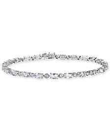 Morganite (5-3/4 ct. t.w.) & White Topaz (7/8 ct. t.w.) Tennis Bracelet in Sterling Silver