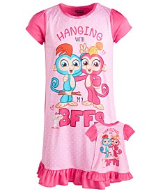 Fingerlings Little & Big Girls Fingerlings Nightgown & Doll Nightgown
