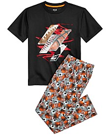 Max & Olivia Big Boys 2-Pc. Sports-Print Pajama Set