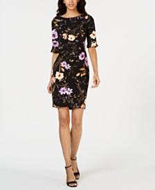 Calvin Klein Petite Dark Floral-Print Sheath Dress