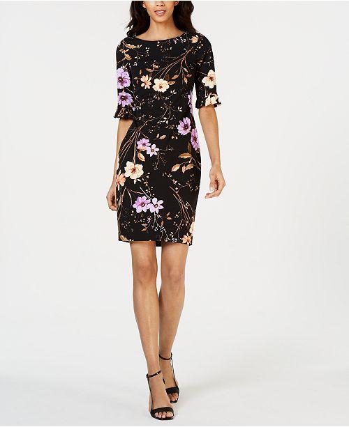 078bf12e674da Calvin Klein Petite Dark Floral-Print Sheath Dress   Reviews ...