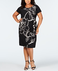 Robbie Bee Plus Size Printed Side-Tie Dress