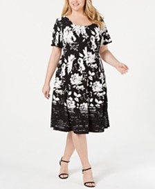 Robbie Bee Plus Size Printed A-Line Dress