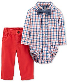 Carter's Baby Boys 3-Pc. Plaid-Print Cotton Bodysuit, Pants & Bowtie Set
