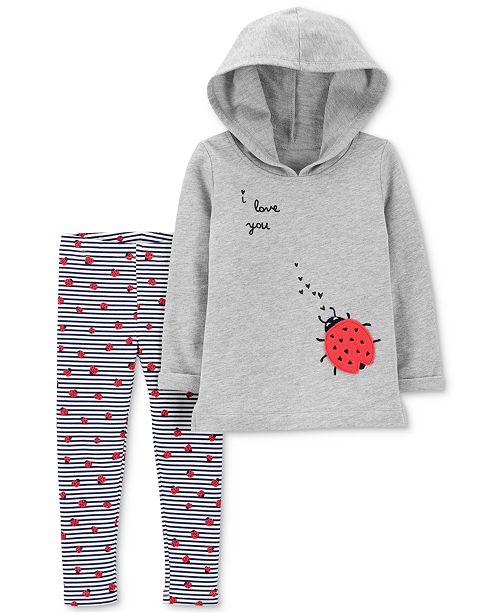 Carter's Baby Girls 2-Pc. Ladybug Hoodie & Leggings Set