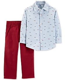 Carter's Baby Boys 2-Pc. Printed Cotton Oxford & Pants Set