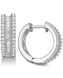 Diamond Hoop Earrings (1/2 ct. t.w.) in Sterling Silver