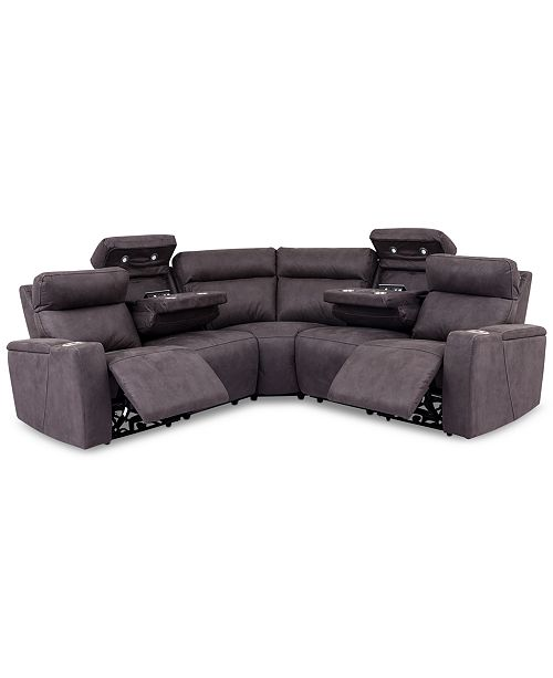 Furniture CLOSEOUT! Oaklyn 5-Pc. Fabric Sectional Sofa With 2 Power Recliners, Power Headrests, USB Power Outlet & 2 Drop Down Tables
