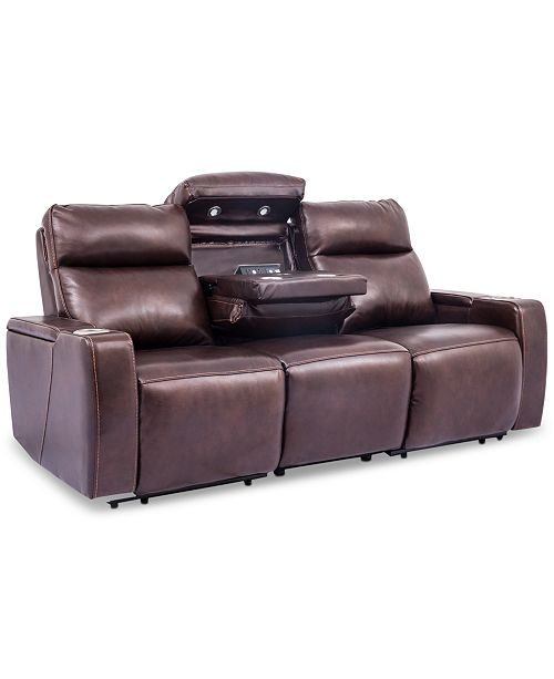 Oaklyn 85 3-Piece Leather Sectional Sofa with 2 Power Recliners, Power  Headrests, USB Power Outlet And Drop Down Table