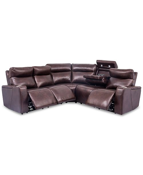 Furniture Oaklyn 5 Pc Leather Sectional Sofa With 3 Motion Recliners 1